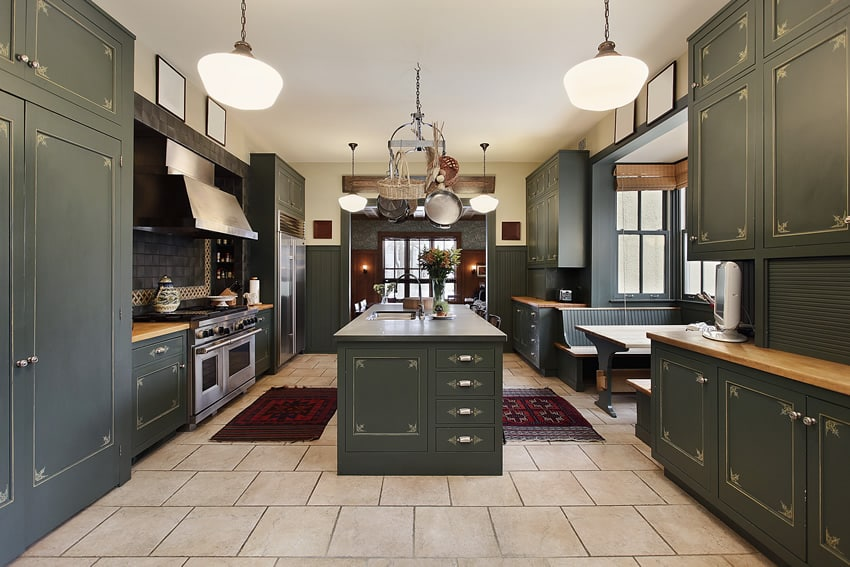 Green theme luxury kitchen with large island