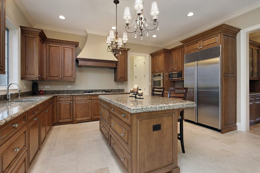 Impressive kitchen with granite counter tops in luxury home