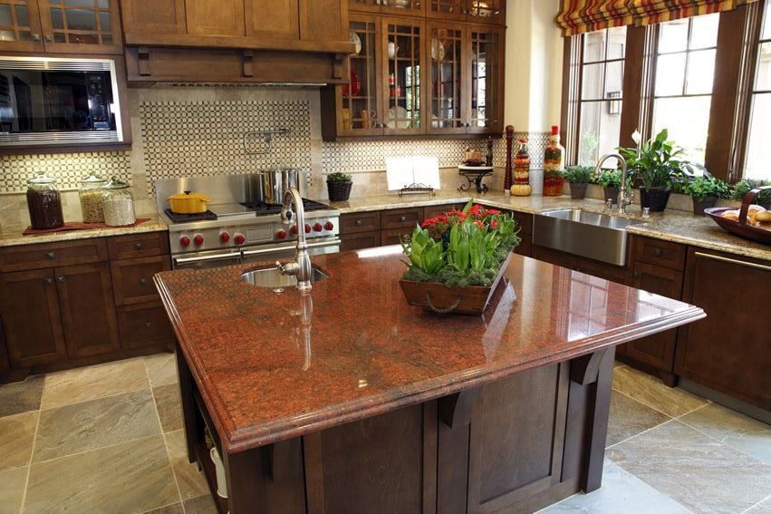 Kitchen with african red granite