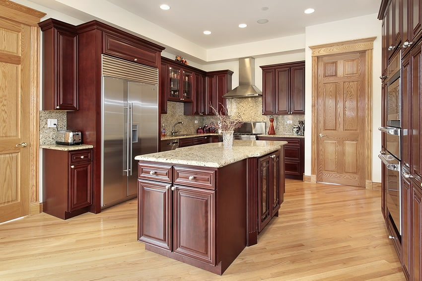 Kitchen with cherry wood design cabinetry
