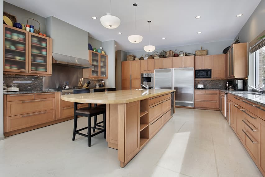 Kitchen with large butcher block island