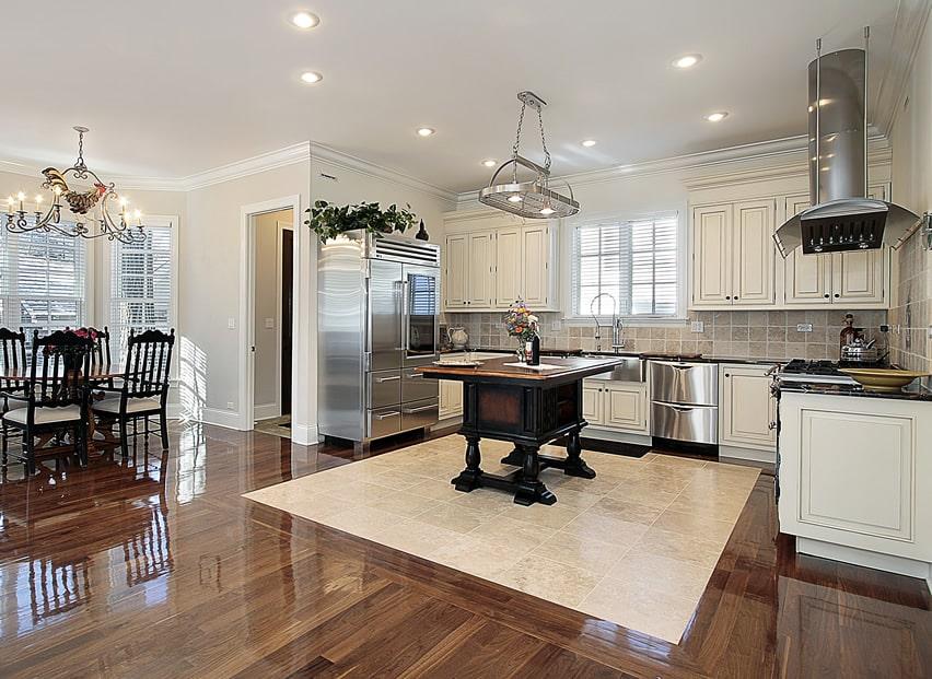white cabinet kitchen with unique golden oak island and wood u0026 tile flooring - Wood Tile Flooring