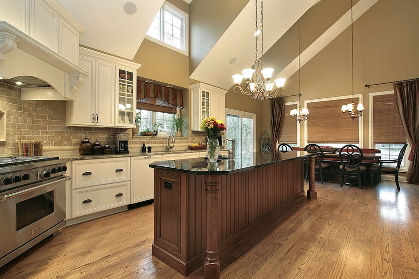 Large custom kitchen with long island