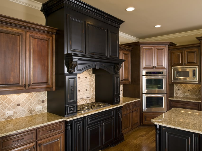 Mixed wood cabinet upscale kitchen