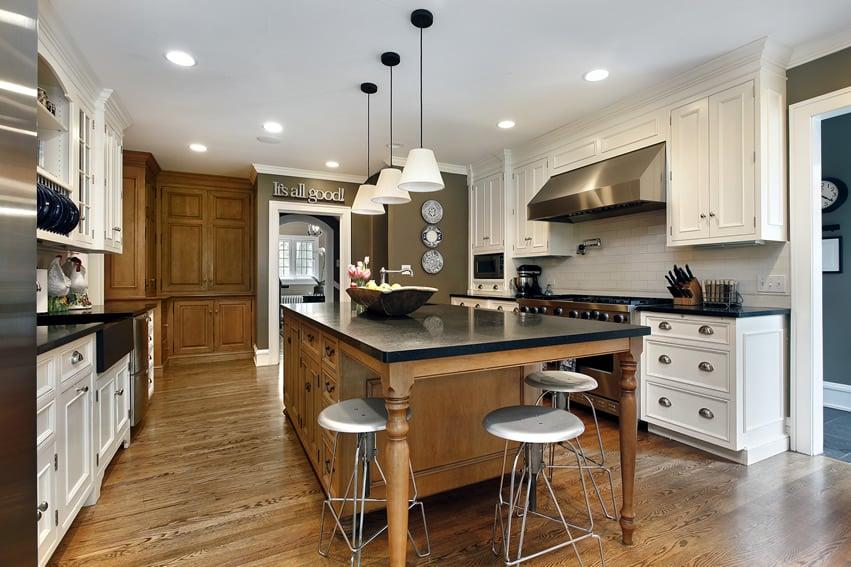 Multiple color wood cabinet kitchen