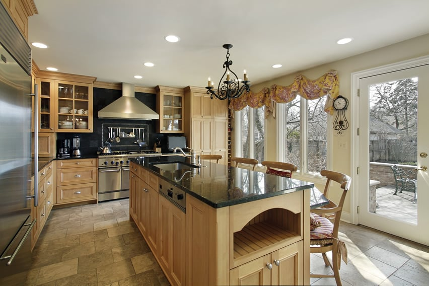 Oak kitchen with stainless steel appliances
