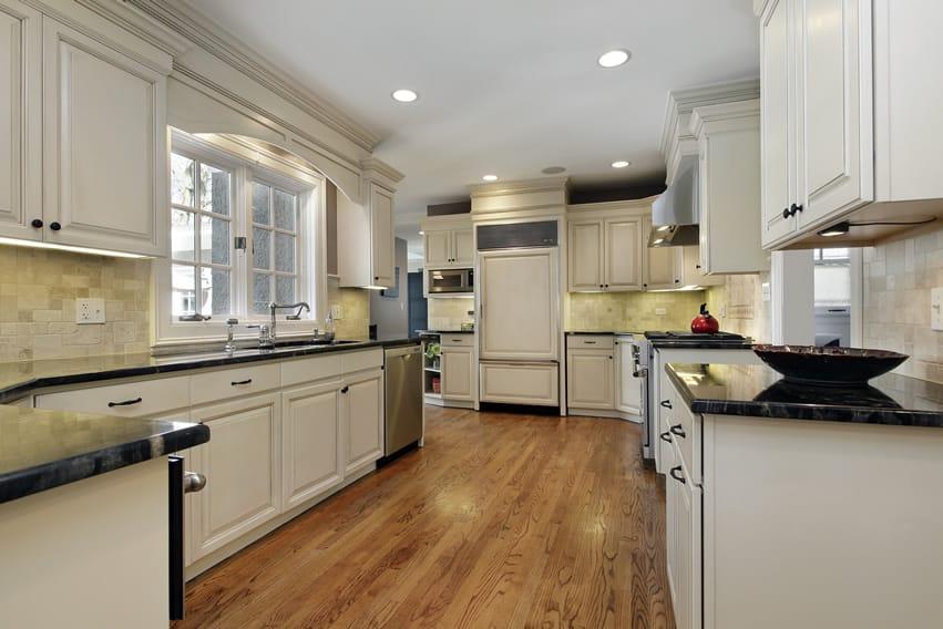 White irregular shaped kitchen