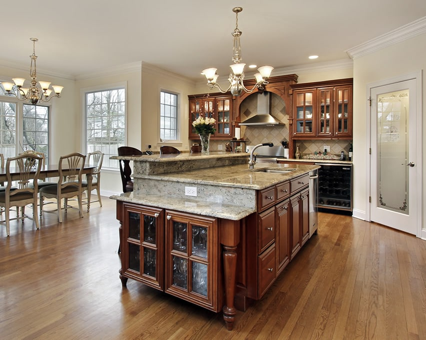 Beautiful luxury kitchen island with custom cabinetry