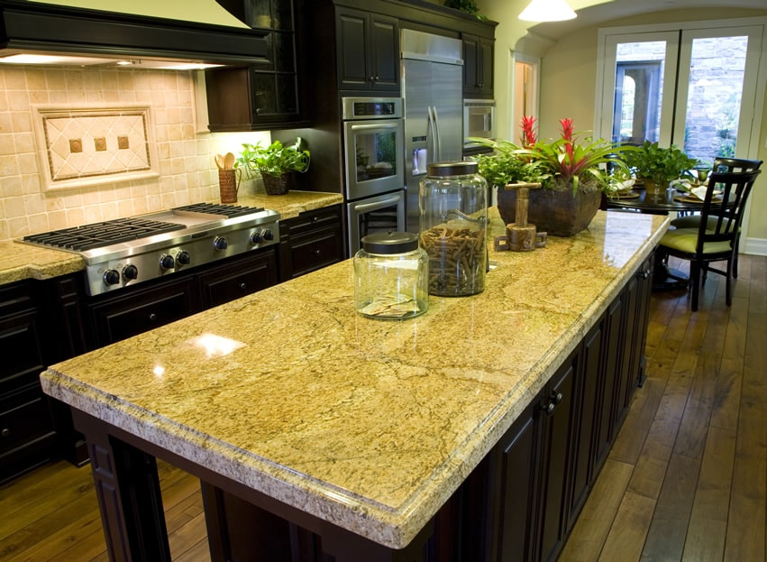Beveled granite kitchen island rectangular shape