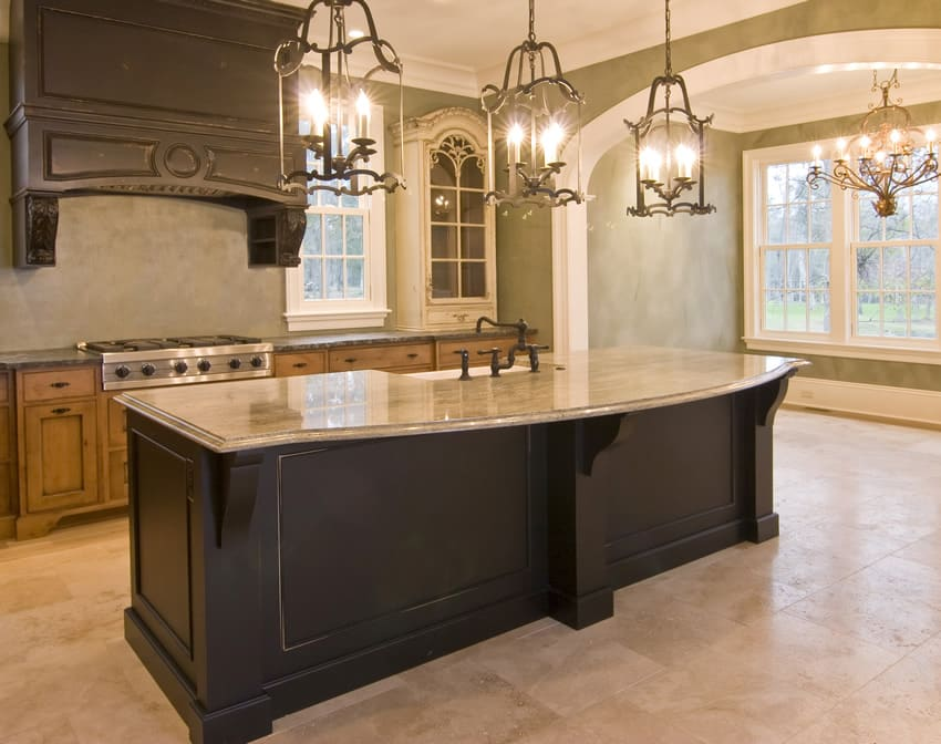 traditional style inspired kitchen design this large kitchen island