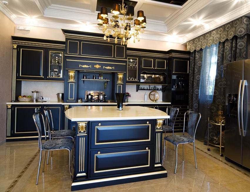 Detailed gold trim kitchen island in luxury house