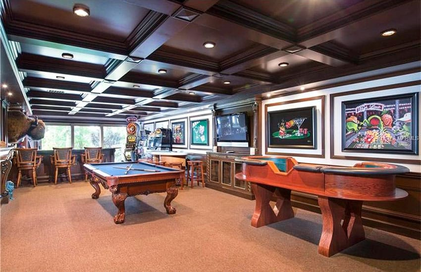 Game room bar with pool table, tv and craps table
