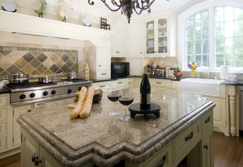 77 custom kitchen island ideas beautiful designs - Black granite countertops with cream cabinets ...