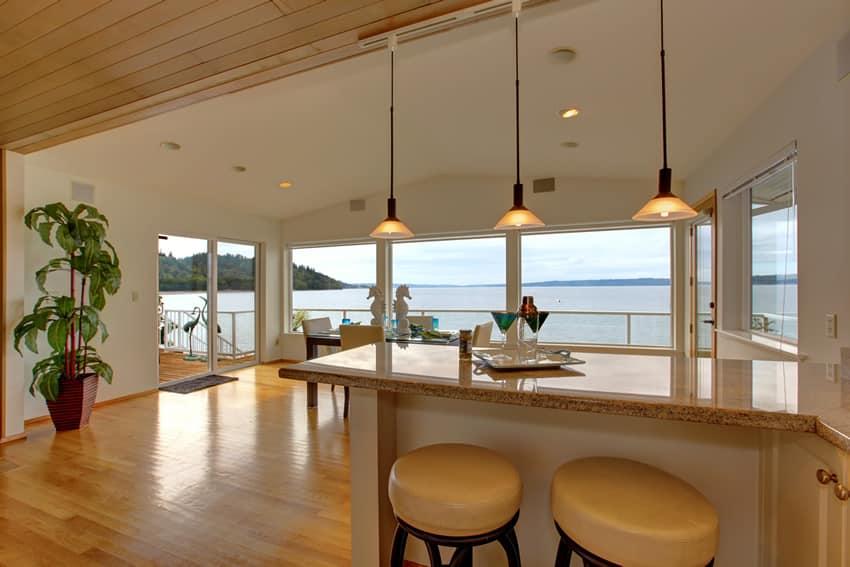 Home bar overlooking water