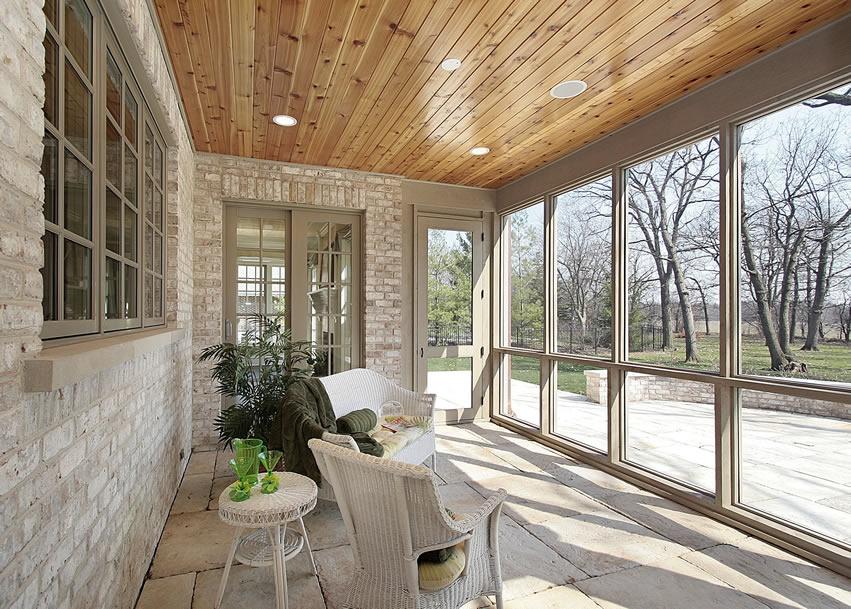 Indoor patio with window view