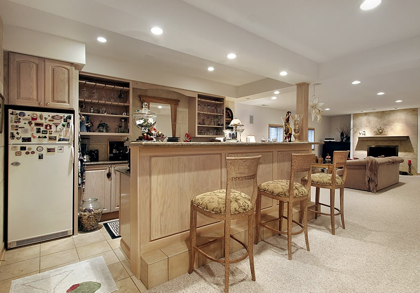 Lower level home bar with fridge