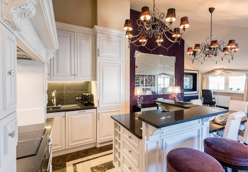 Luxury kitchen island with raised dining area
