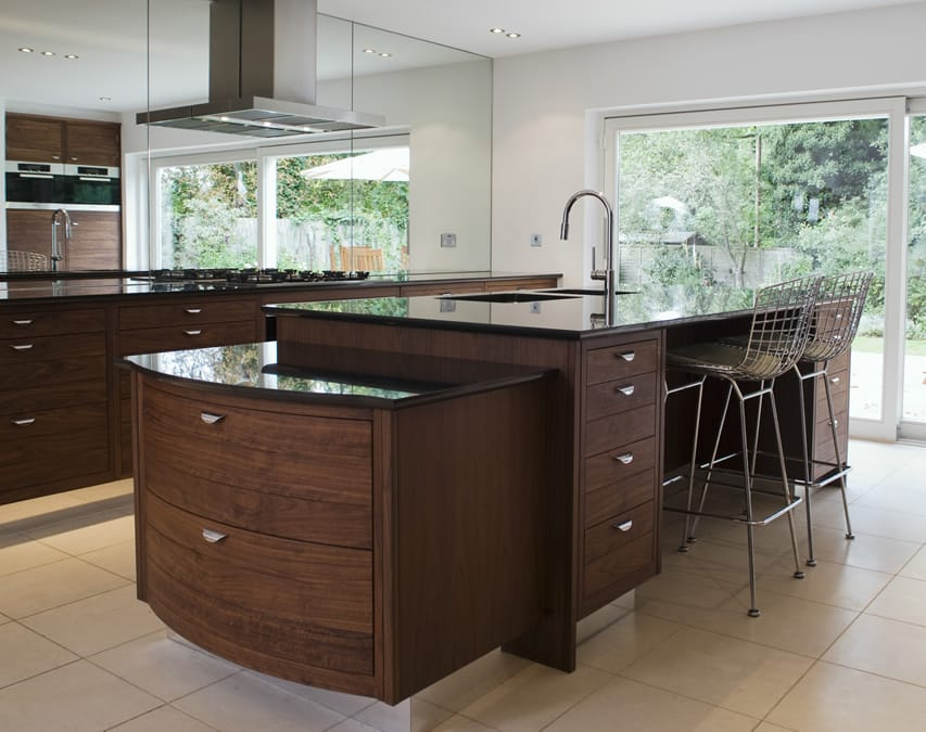 Luxury wood kitchen island with black counter top