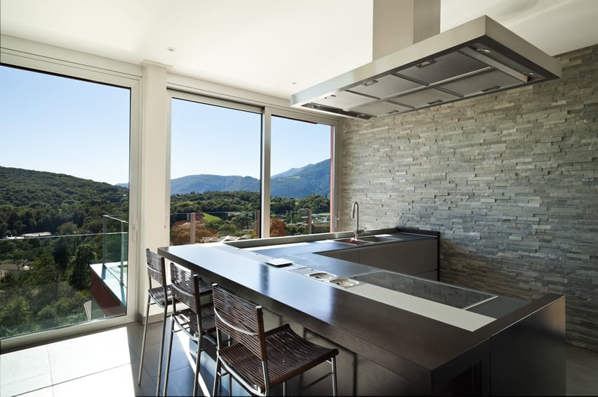 Modern bar area with mountain view