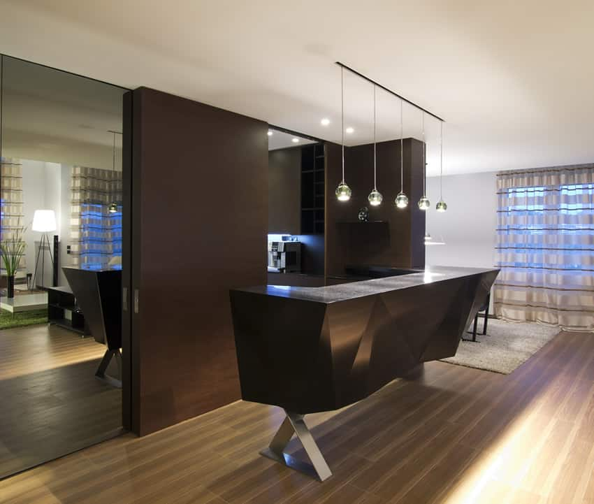 Modern black home wet bar with pendant lighting and black quartz counter