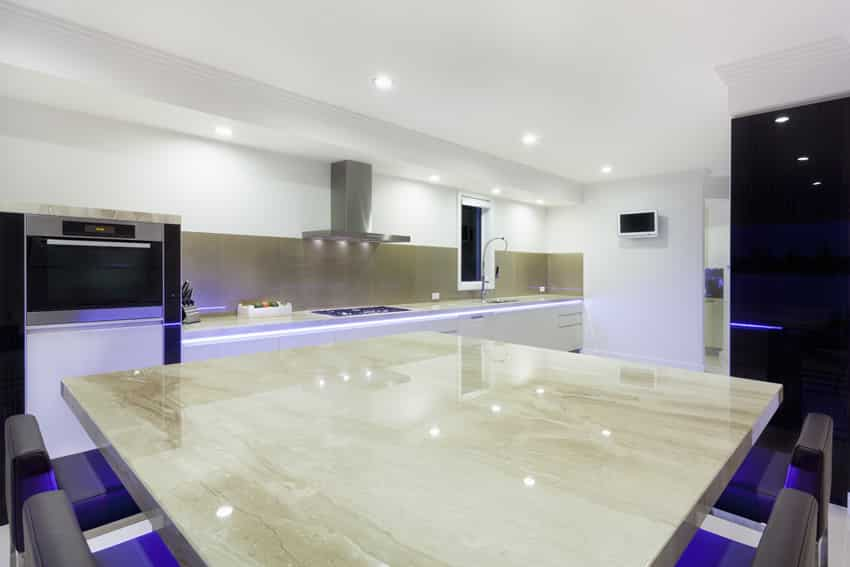 Modern kitchen island with neon lighting