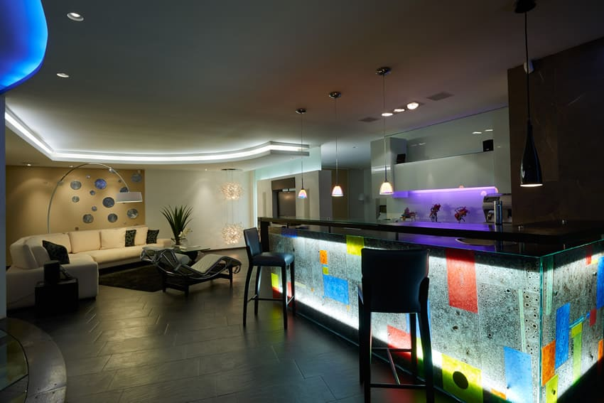 Neon bar in home lounge area