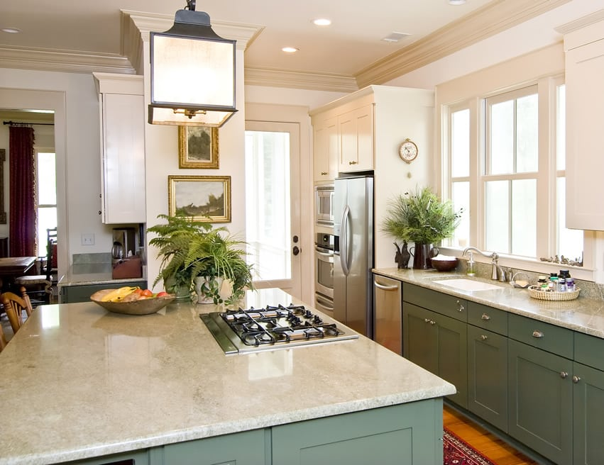 Painted green cabinet kitchen island