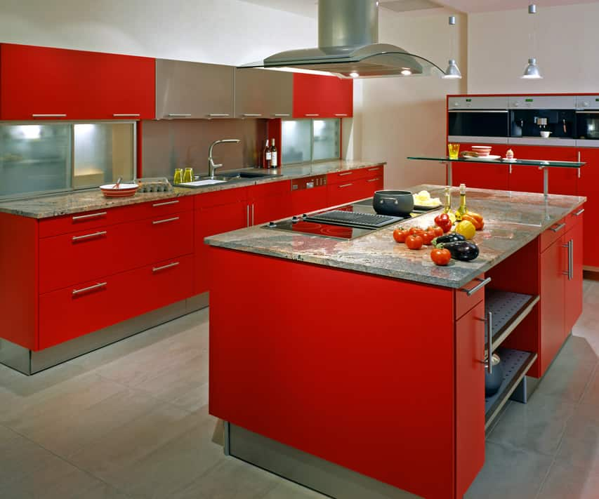 Red modern kitchen island with stainless oven hood