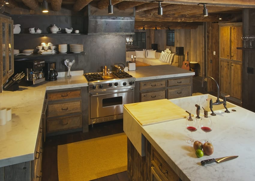 Rustic kitchen with chefs island