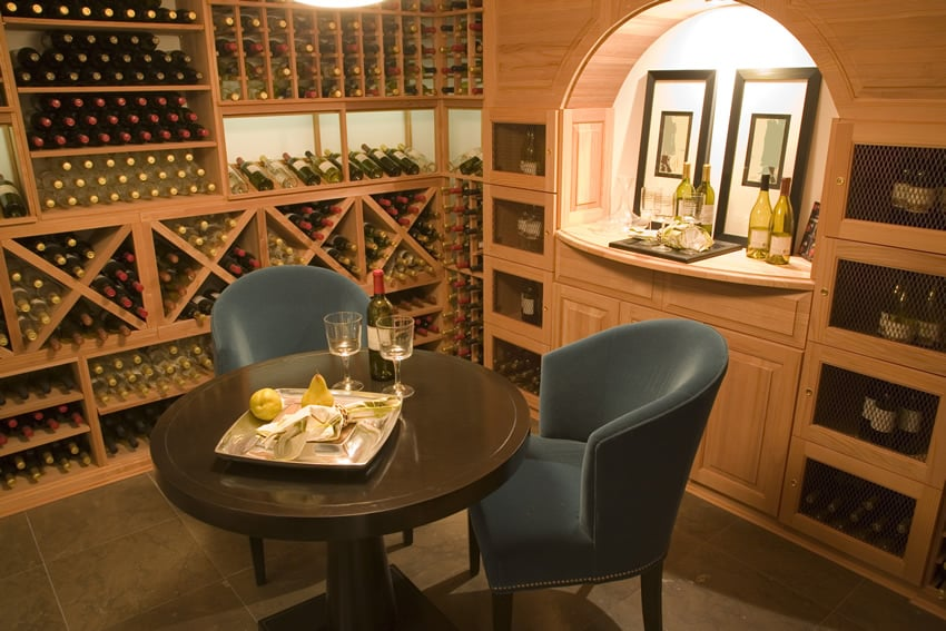 Small wine bar in storage cellar