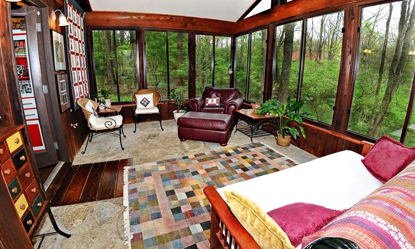 Sun room with wood trim