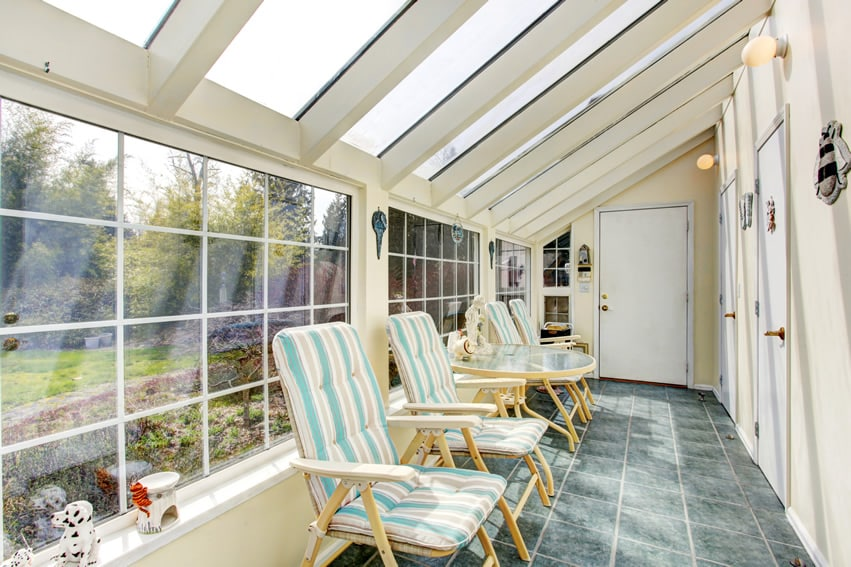 Sunroom with ceiling windows