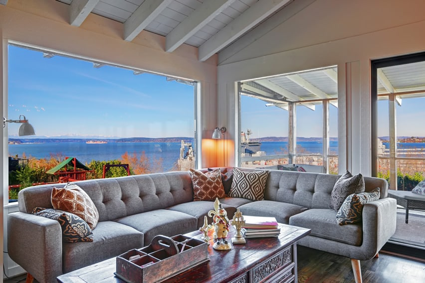 Sunroom with waterfront bay view