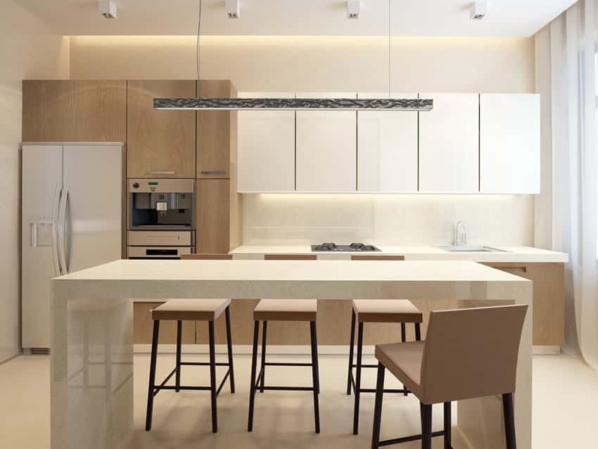 White minimalist kitchen dining island