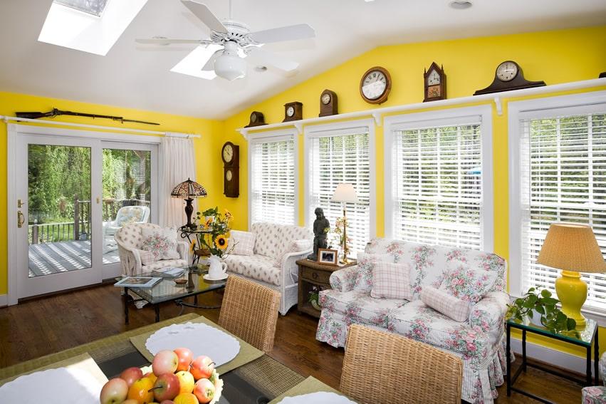 Sunroom Ideas Designs 46 sunroom design ideas Yellow Sunroom With Antique Decor