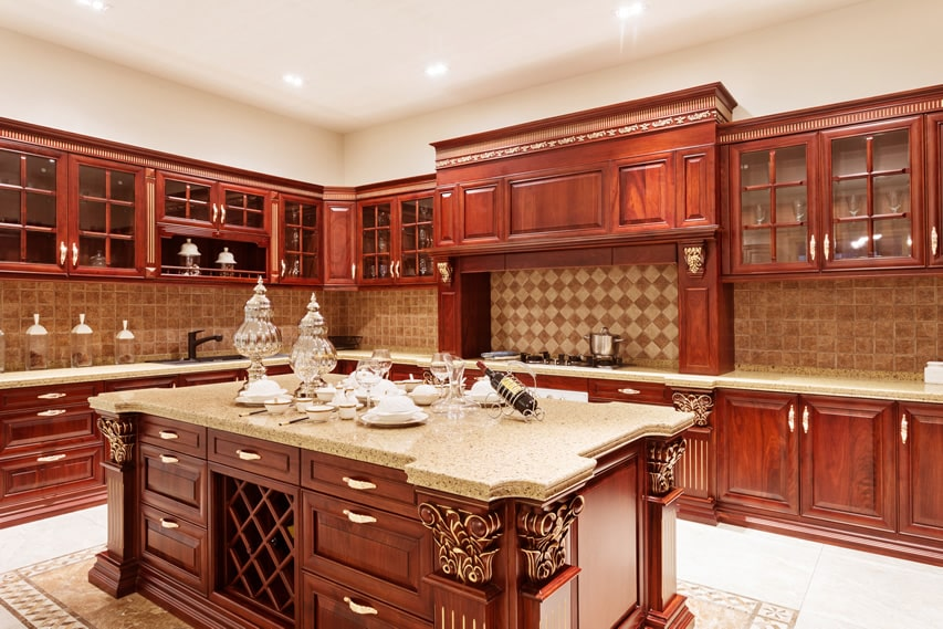 Amazing custom wood l shaped kitchen