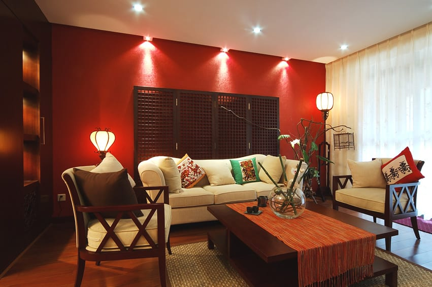 Red Accent Wall wall color with red couch home design ideas pictures. living room
