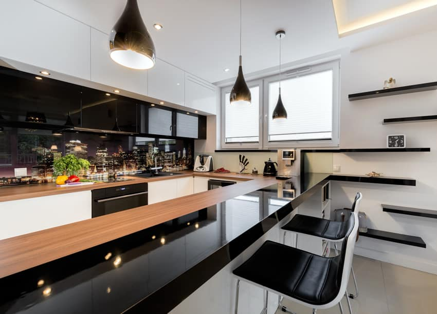 Black modern kitchen with cityscape print back splash