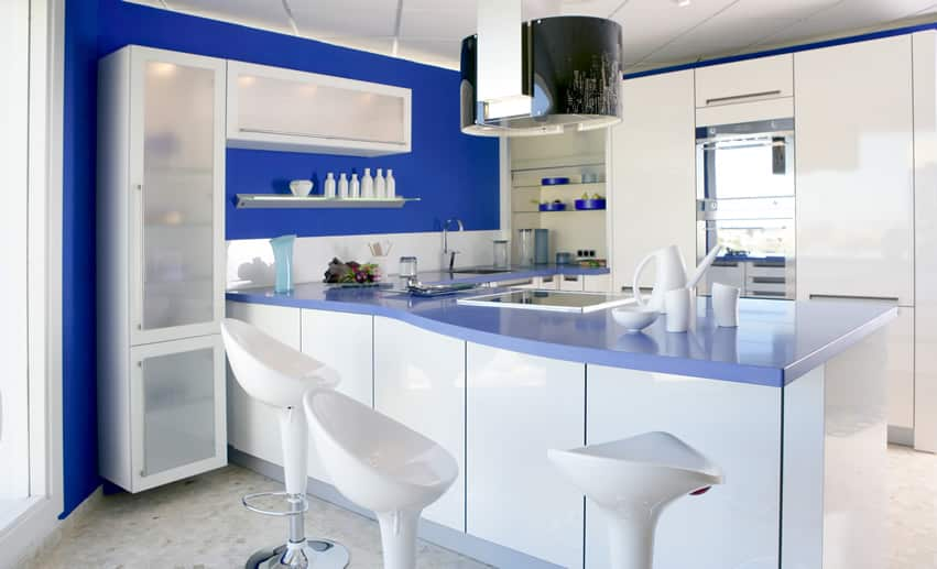 Blue and white modern kitchen with barstools
