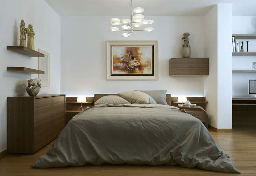 Brown theme bedroom design with office nook