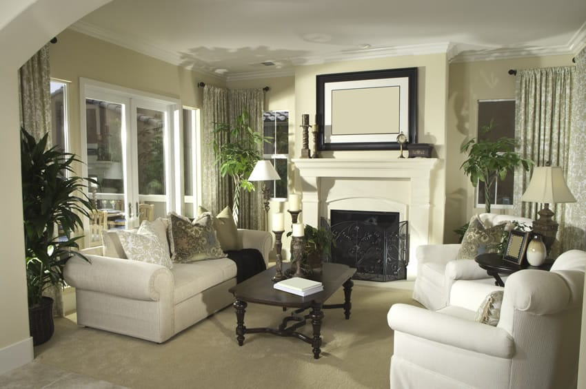 Contemporary living room with high end decor
