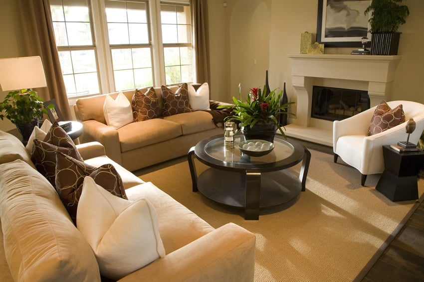 Contemporary living room with warm colors