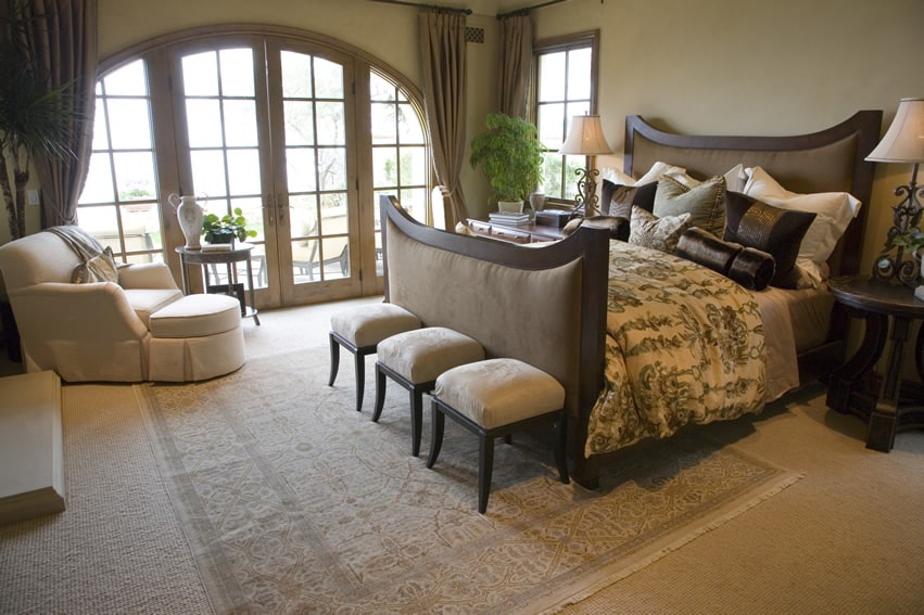 Custom design bedroom with plush bed frame