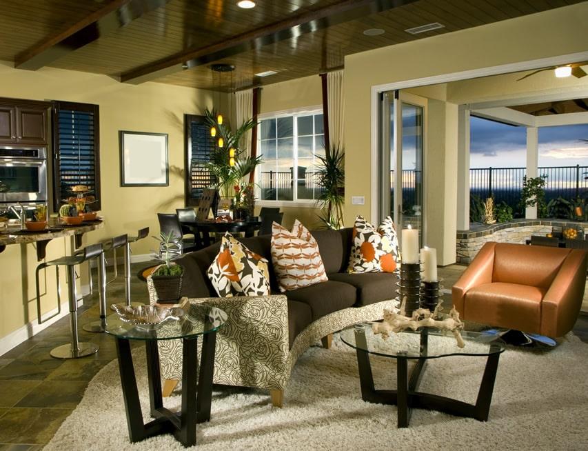 Designer furnished living room with impressive view