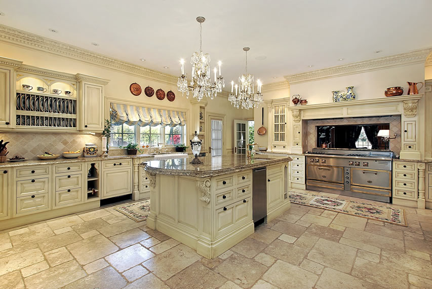 Elegant cream kitchen with l shape and large granite island