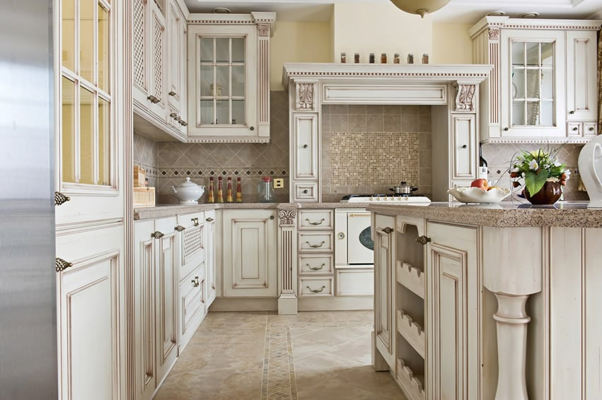 Elegant white l shaped kitchen