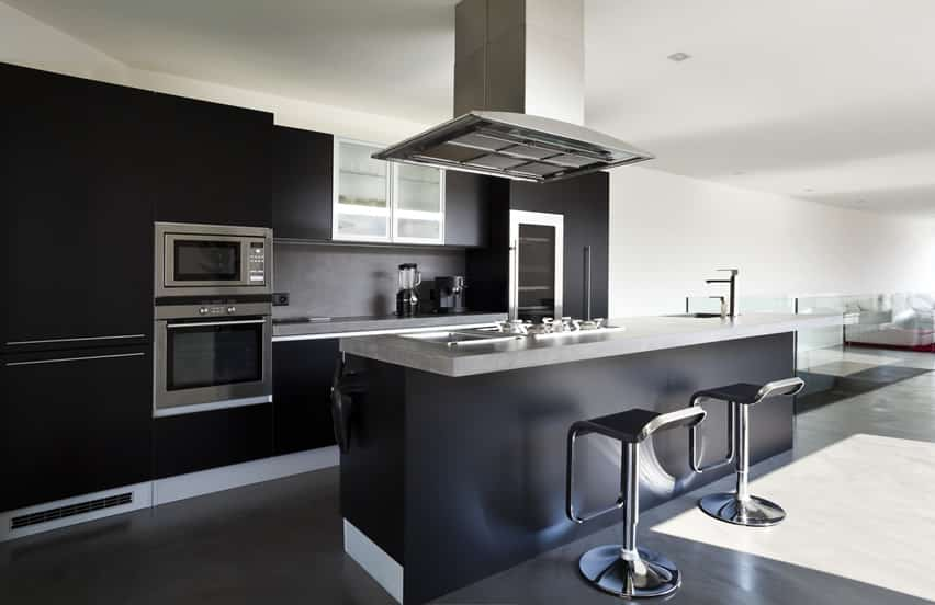 European design kitchen with black theme and gray counters