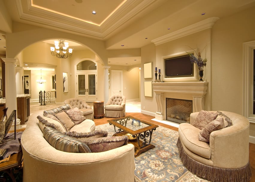 Grand living room with elegant decor and tray ceiling