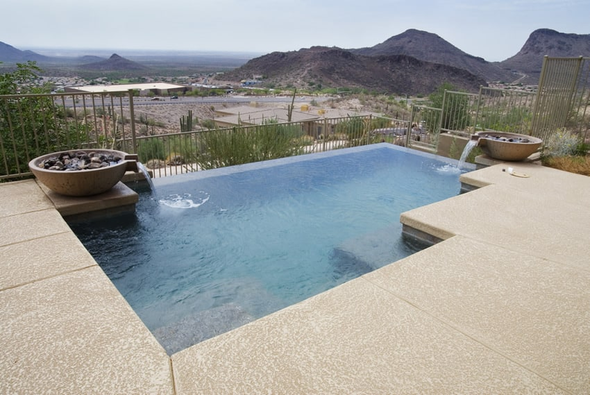 Infinity pool with desert views