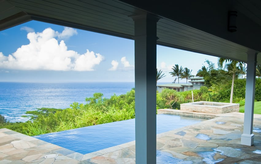 Infinity pool with ocean view from above